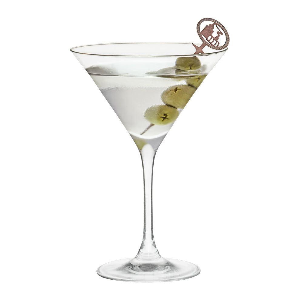 Pick being used with olives in a martini