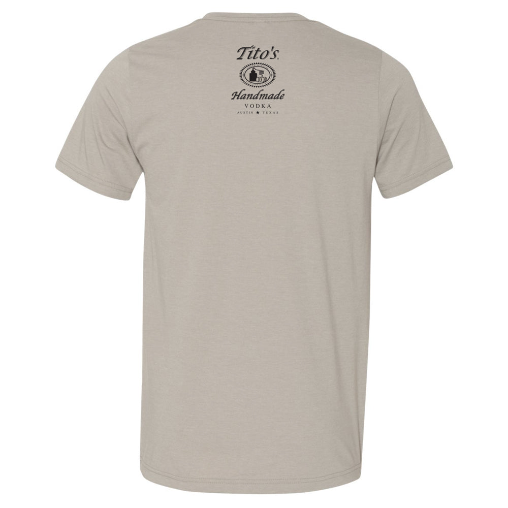 Tito's Handmade Vodka logo on back just under neckline