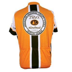 Back view of orange cycling jersey with Tito's logo on back, black and white stripe, three rear cargo pockets