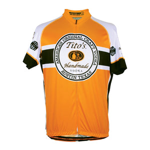 Front view of  full-zip Performance Airstream and Sapphire fabric's cycling jersey in orange with Tito's logo large on front