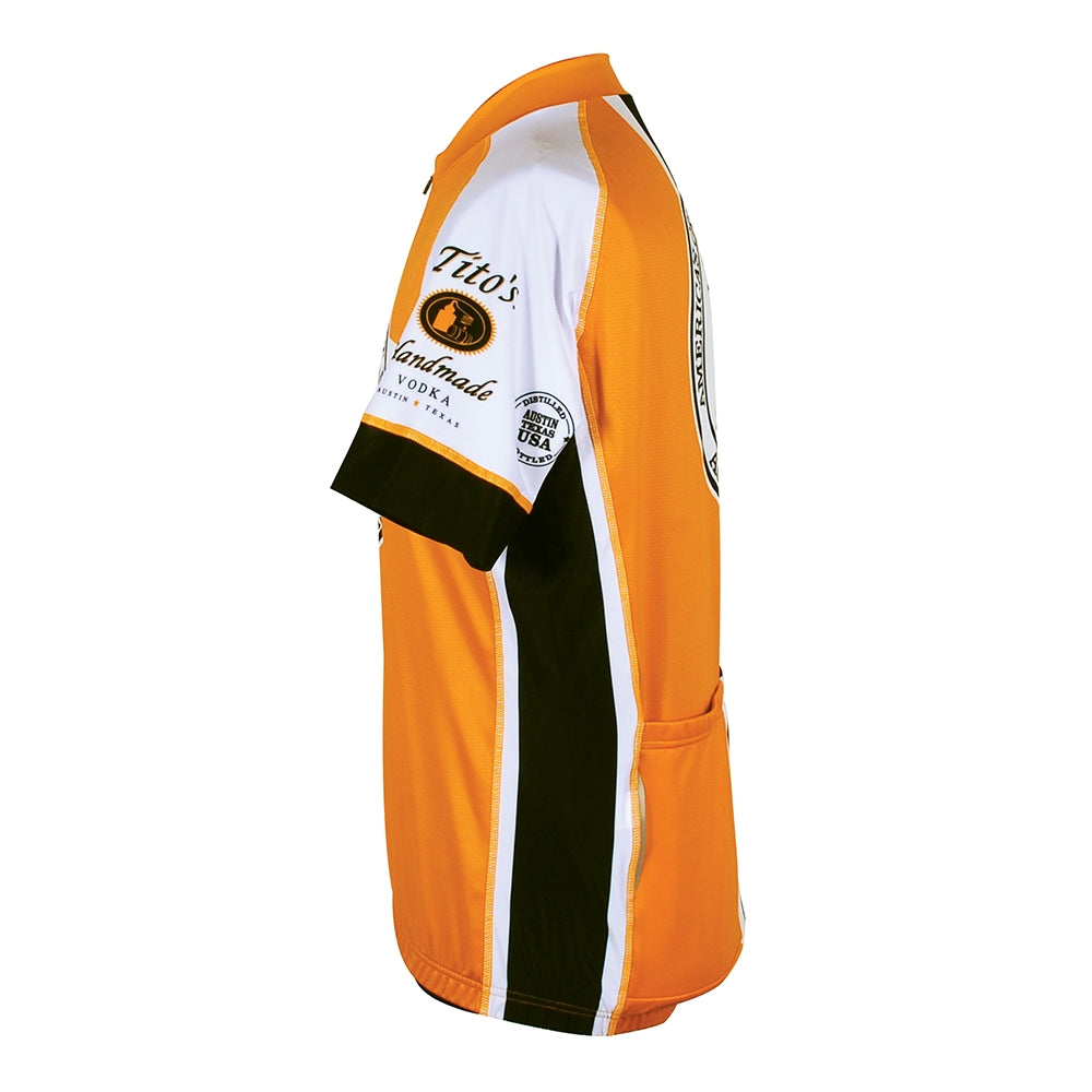 Side view of cycling jersey with Tito's logo on the arm