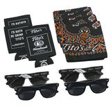 "4 black Tito's sunglasses, 4 black ""I'd Rather Be Drinking Tito's"" koozies, 4 black and orange Tito's bandanas"