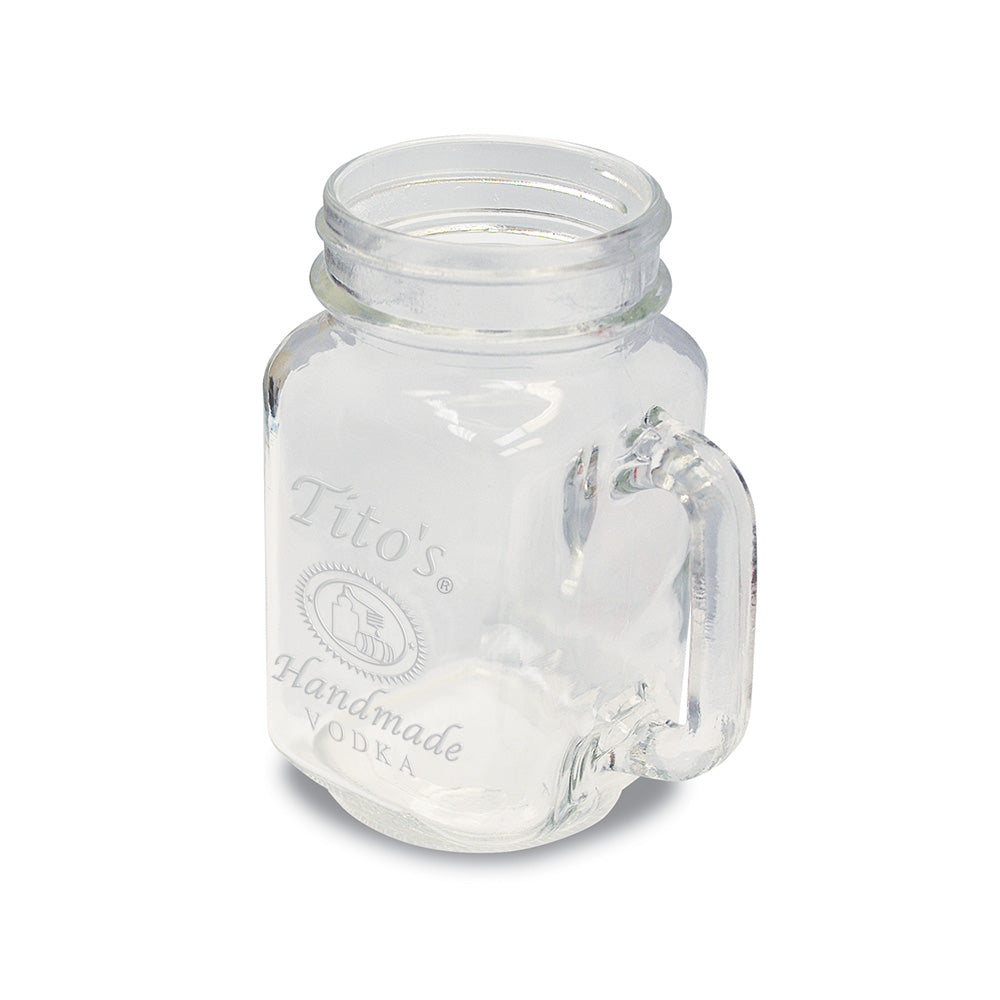 Glass mason jar mug embossed with Tito's Handmade Vodka logo 16oz