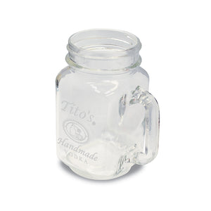 Glass mason jar mug embossed with Tito's Handmade Vodka logo