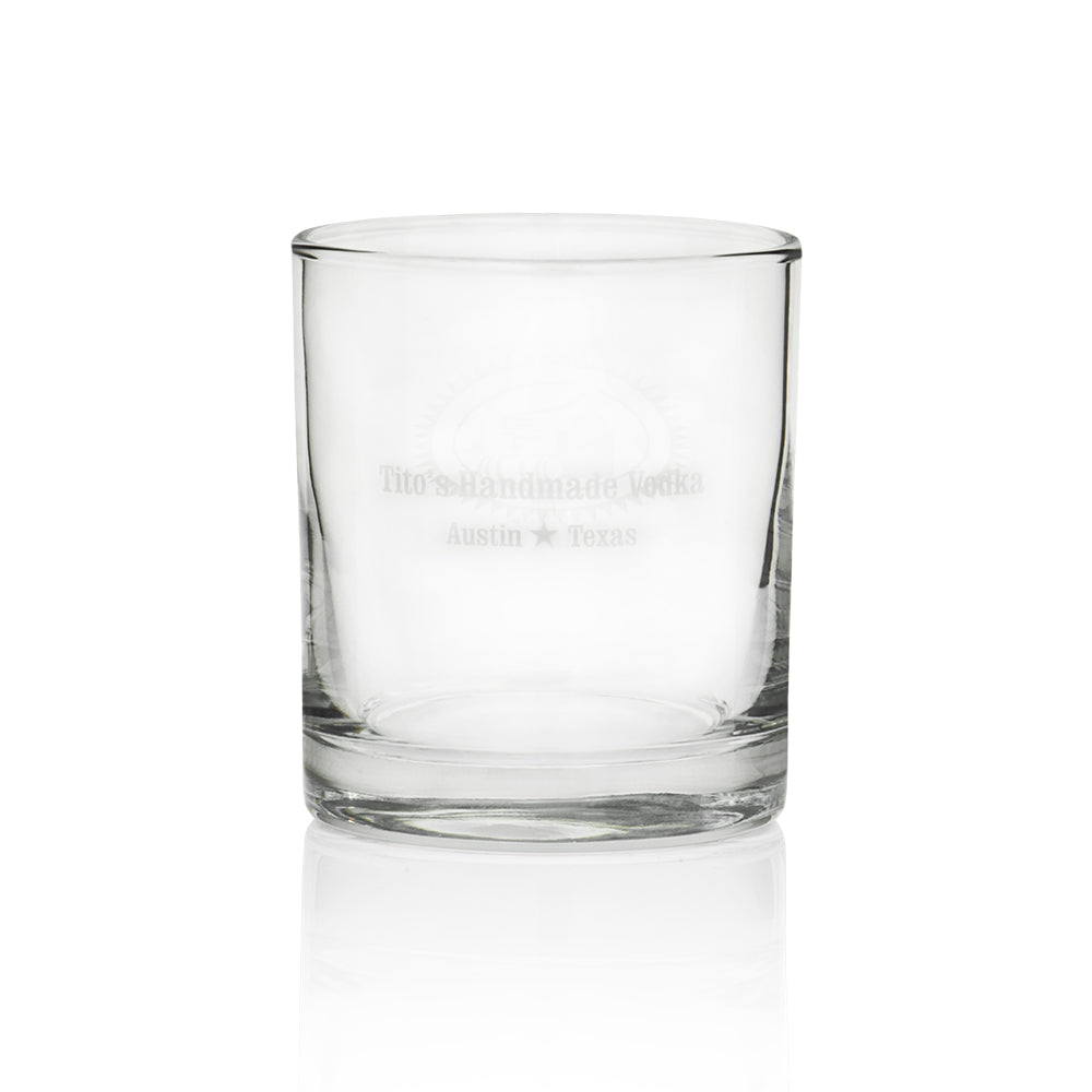 "Back of cocktail glass reads ""Tito's Handmade Vodka"" and ""Austin, Texas"""