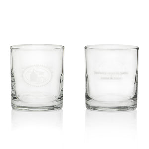 Front and back view of glass, comes in set of two