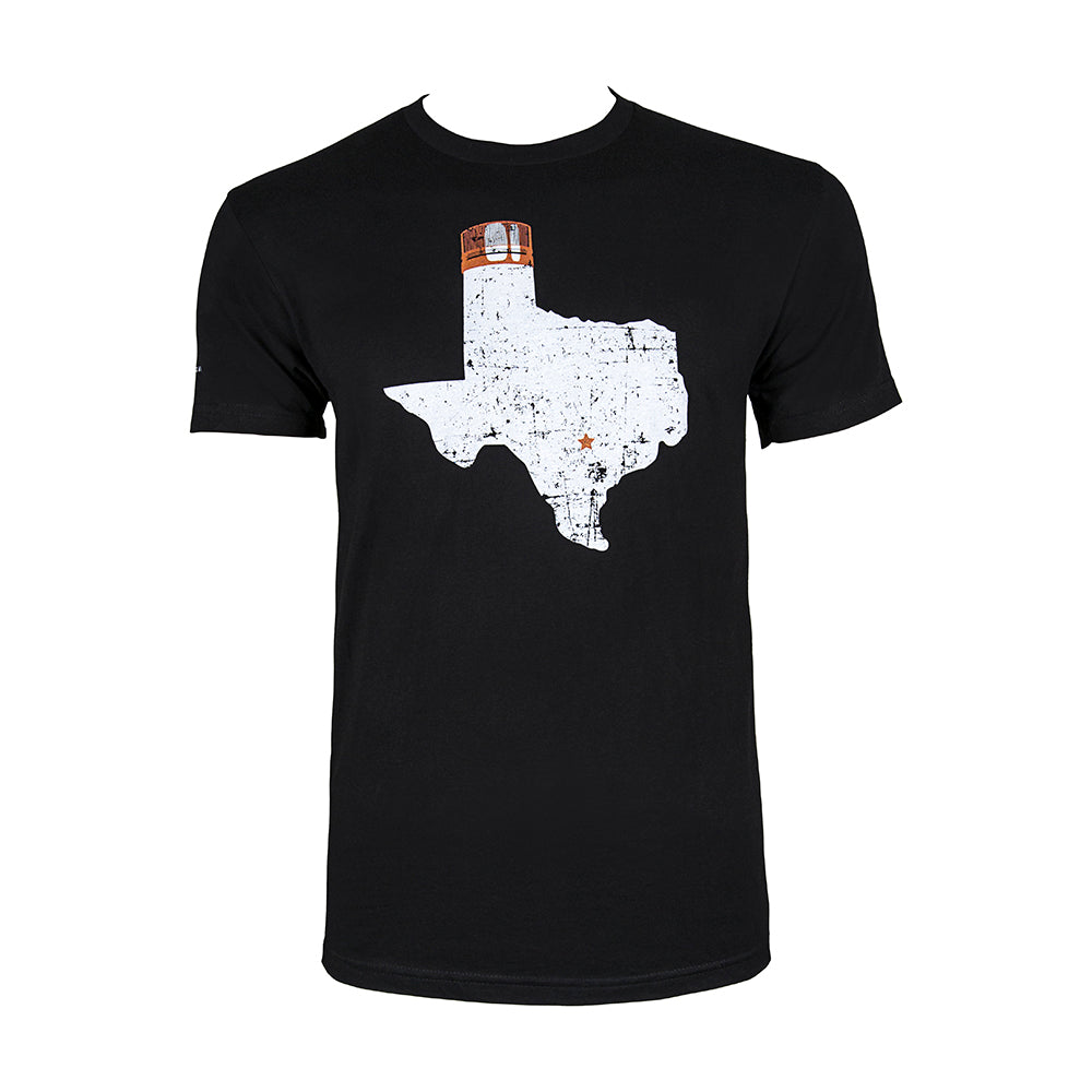 Black short sleeve with large Texas state image, star on Austin's location, and Tito's Copper Top on panhandle on front