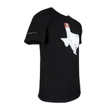 Black short sleeve with Austin, Texas on sleeve, side view