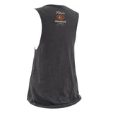 Gray Ladies' Muscle Tank with Tito's Logo and text on back