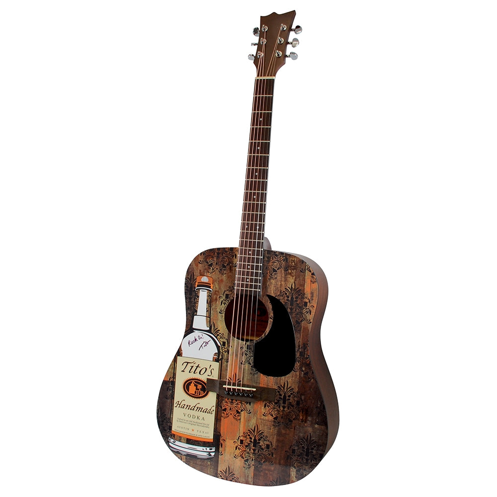Acoustic guitar signed by Tito Beveridge, Tito's bottle graphic on front, mahogany color