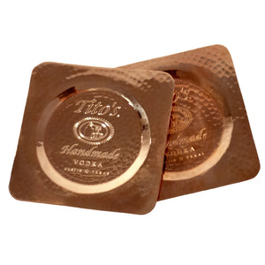 Tito's Handmade Vodka coasters on recycled copper, set of 2