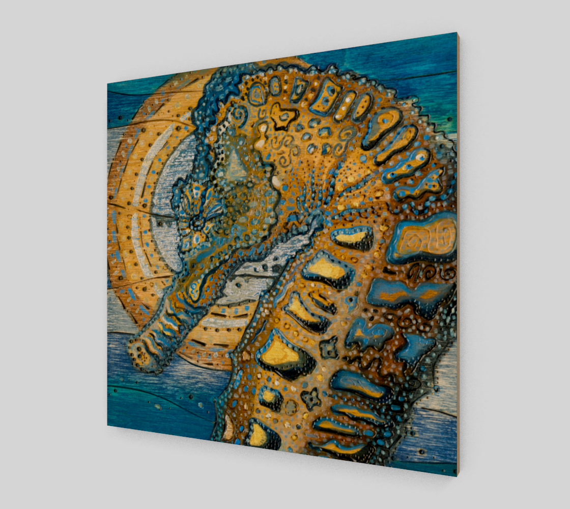 Blue Ocean Wood Art Print