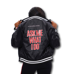 Ask Me What I Do | Members Only Satin Baseball Jacket