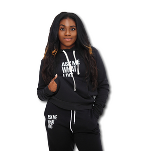 Ask Me What I Do | Hoodie/Joggers Set Black