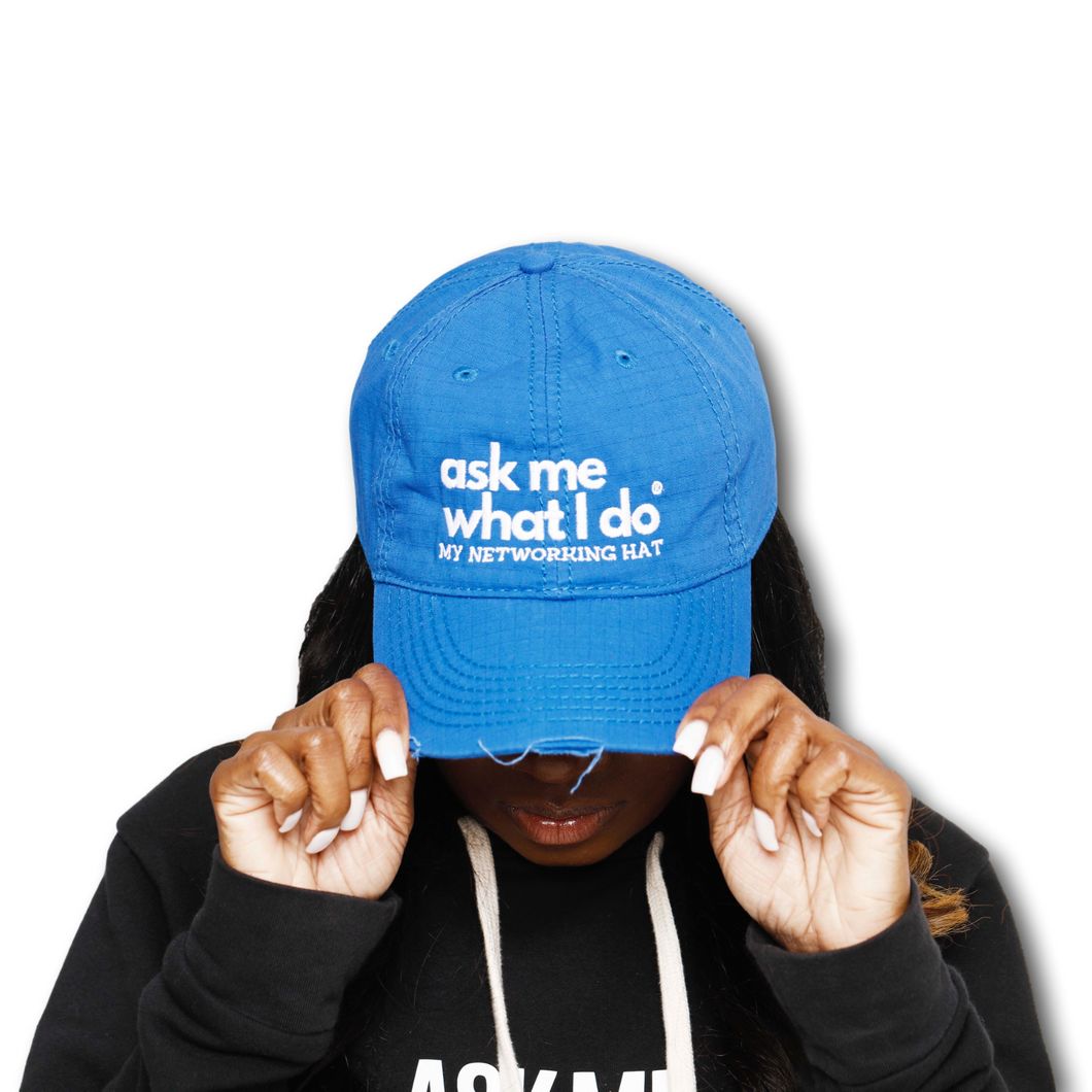 Ask Me What I Do Hat | Royal Blue