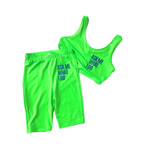 Networking Fitness Top/Shorts Set | Lime Green