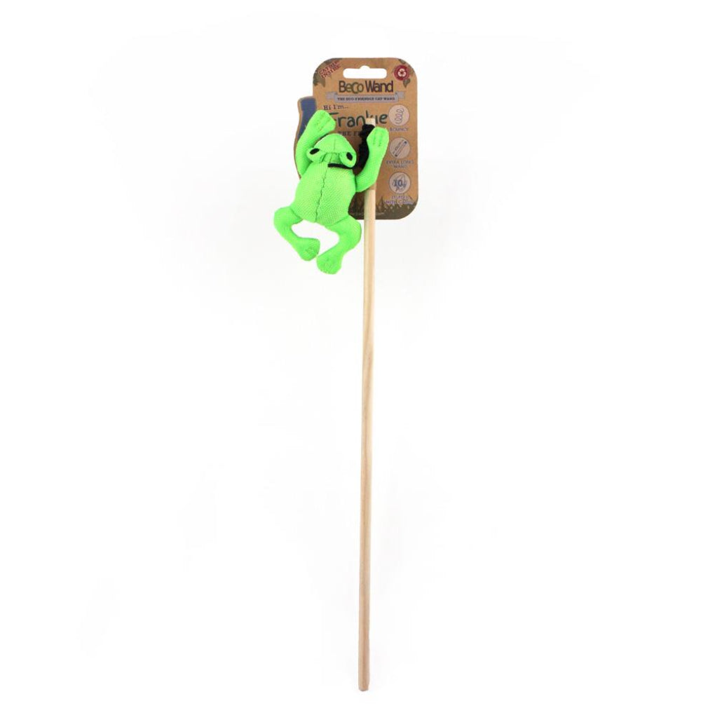 Beco Pets Frankie The Frog Friendly Catnip Interactive Wand Recycled Plastic Cat Toy