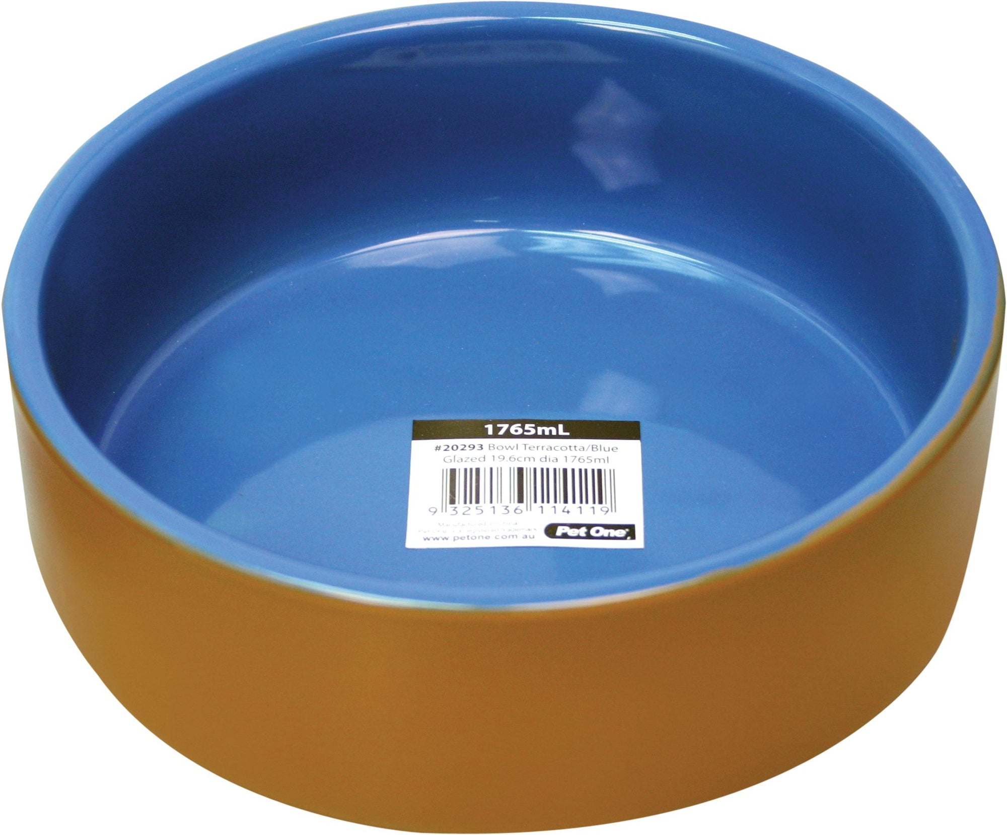 Pet One Terracotta Bowl Blue Glazed