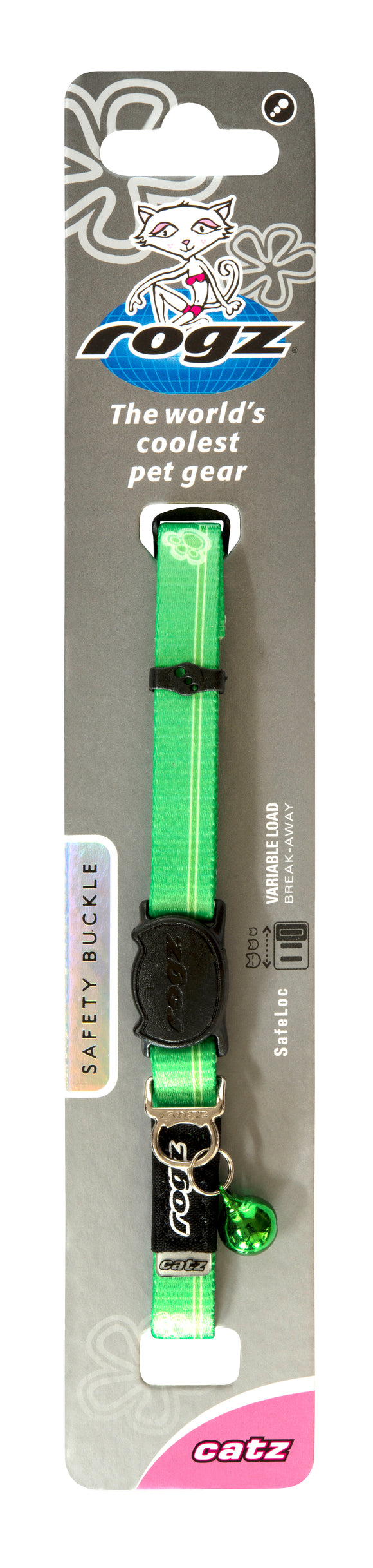 Rogz Kiddycat Safeloc Collar Lime Paws