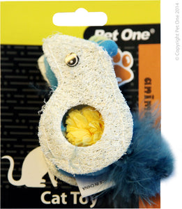 Pet One Cat Toy Loofa & Raffia Mouse - RSPCA VIC