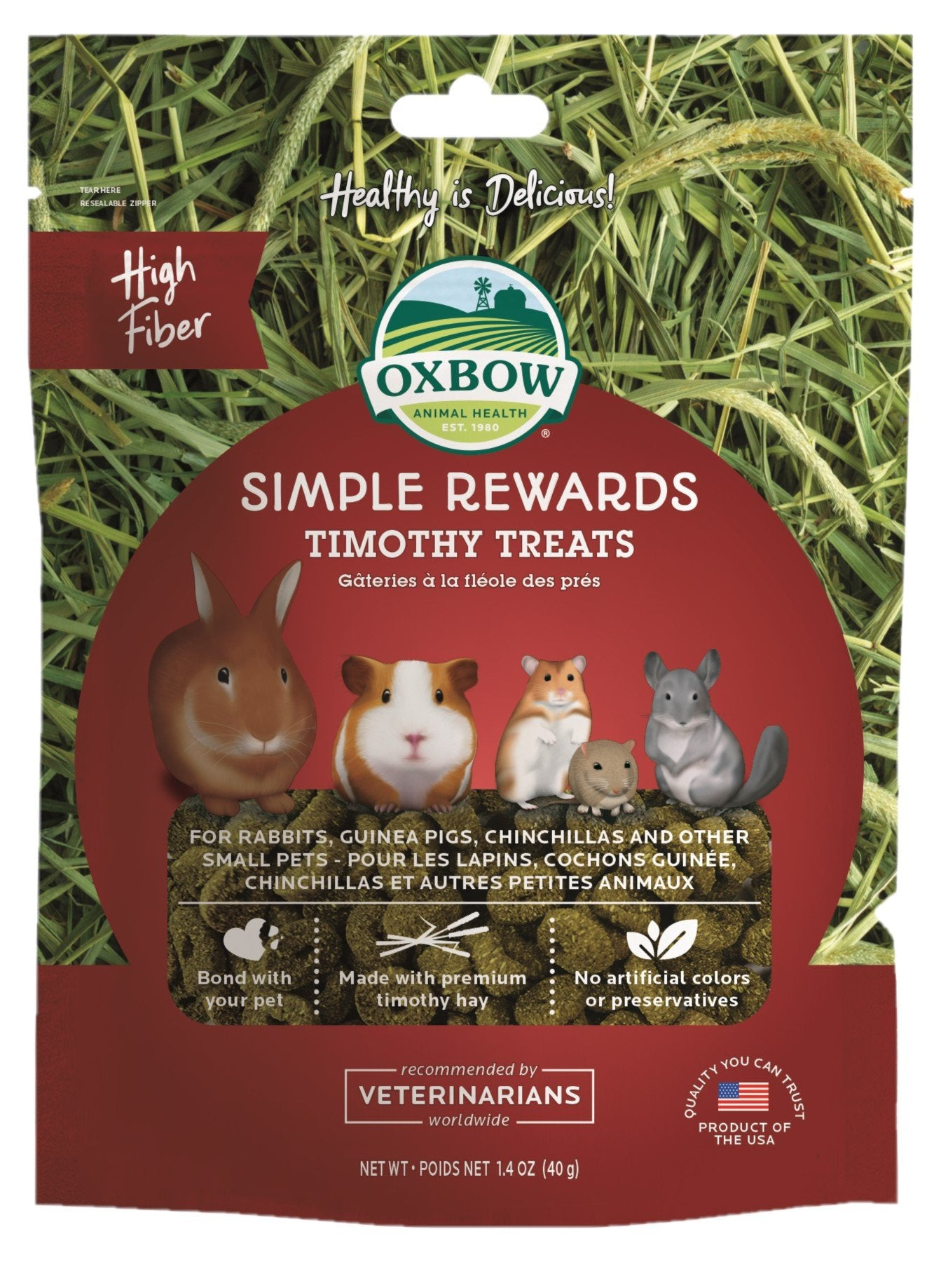 Oxbow Simple Rewards Timothy Treats 40g - RSPCA VIC