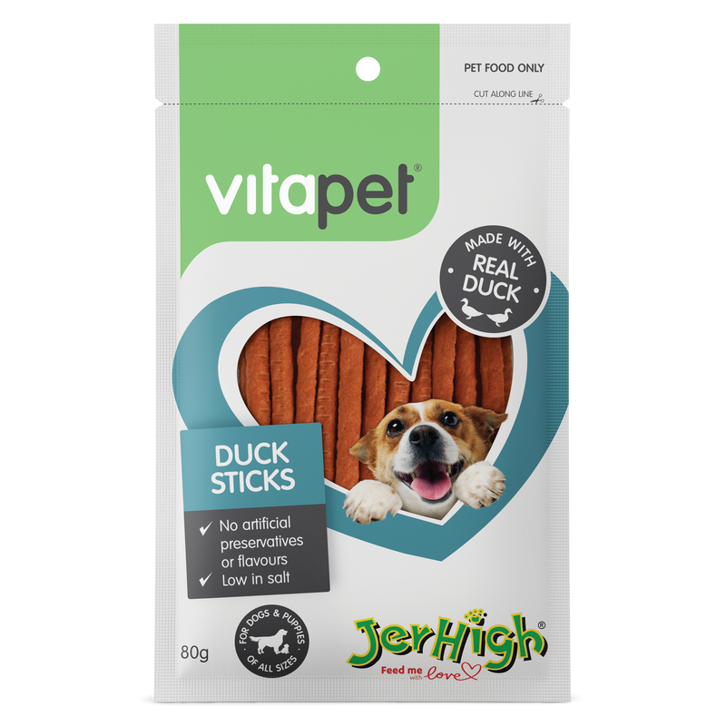 Vitapet Jerhigh Duck Sticks 80g - RSPCA VIC