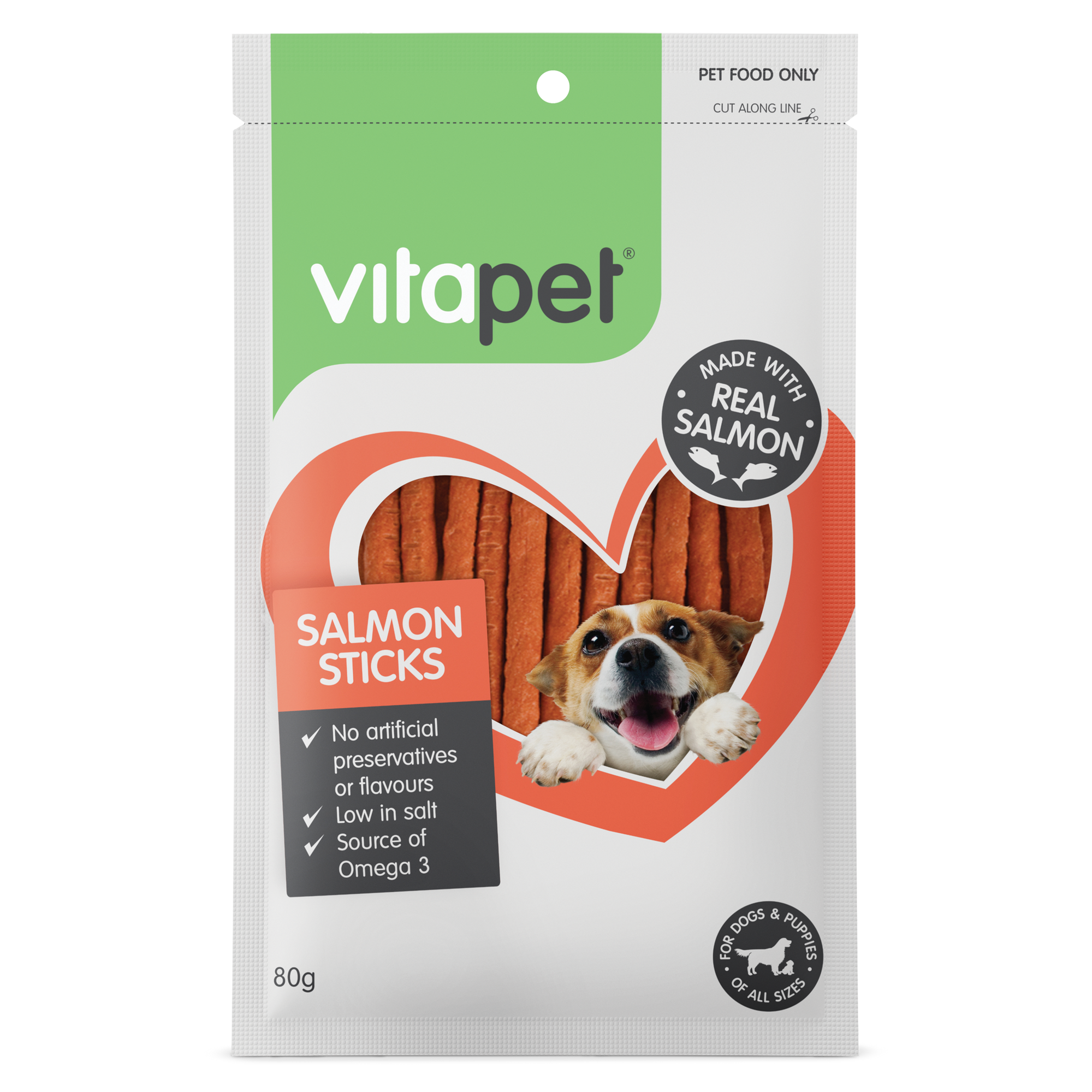 Vitapet Jerhigh Salmon Sticks 80g - RSPCA VIC