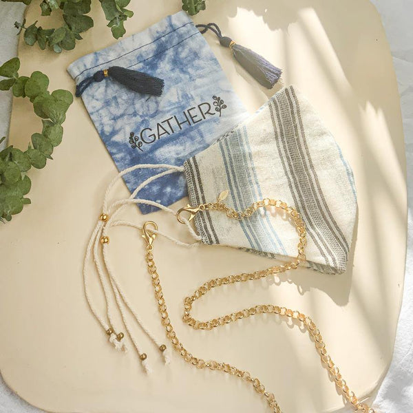 Face Mask & Chain Set - Blue Multi Stripe - Gather Brooklyn