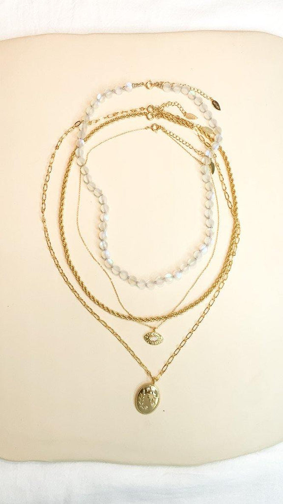 Moon Bead Necklace - Magic White Quartz - Gather Brooklyn