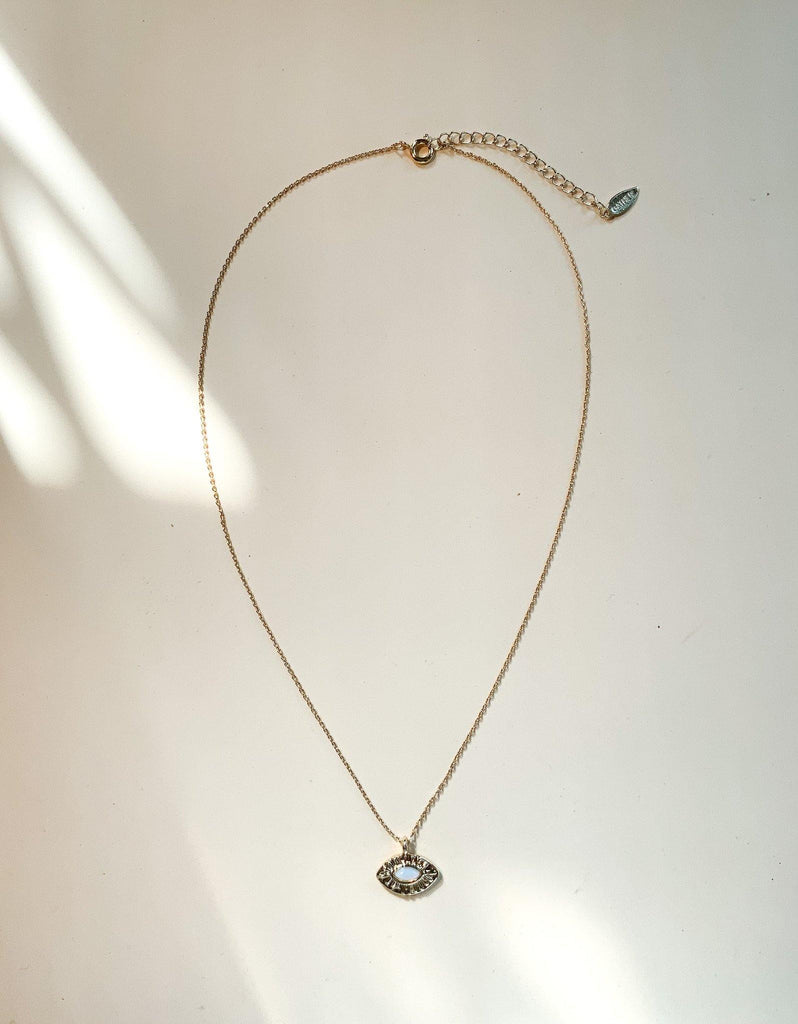 Dainty Evil Eye Necklace - Gold - Gather Brooklyn