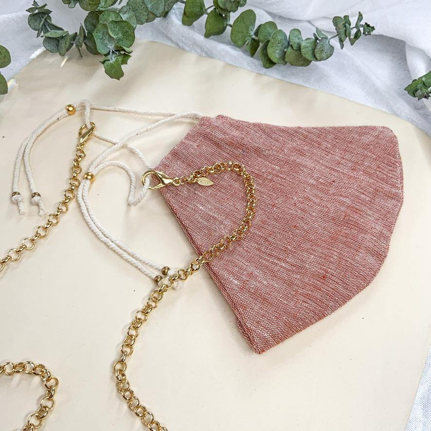 Face Mask & Chain Set - Soft Red - Gather Brooklyn