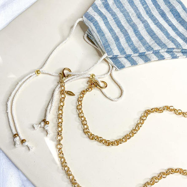 Face Mask & Chain Set - Ivory Blue Stripe - Gather Brooklyn