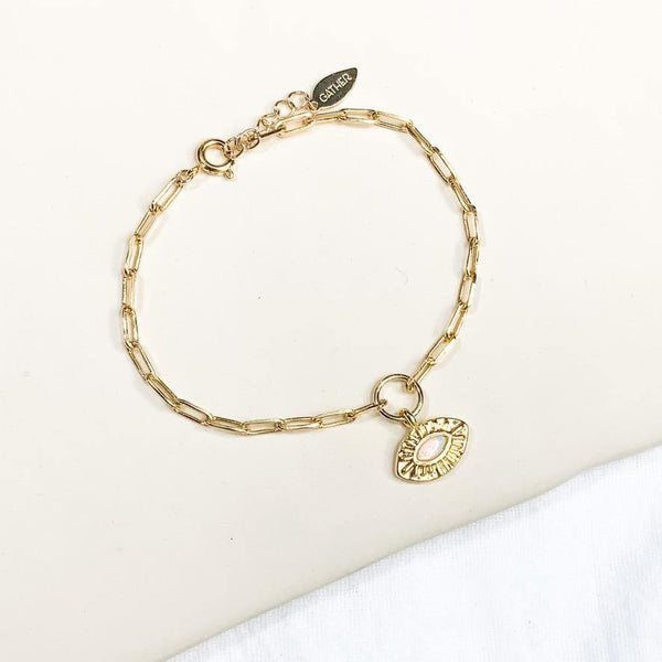 Evil Eye Link Bracelet - Gold - Gather Brooklyn