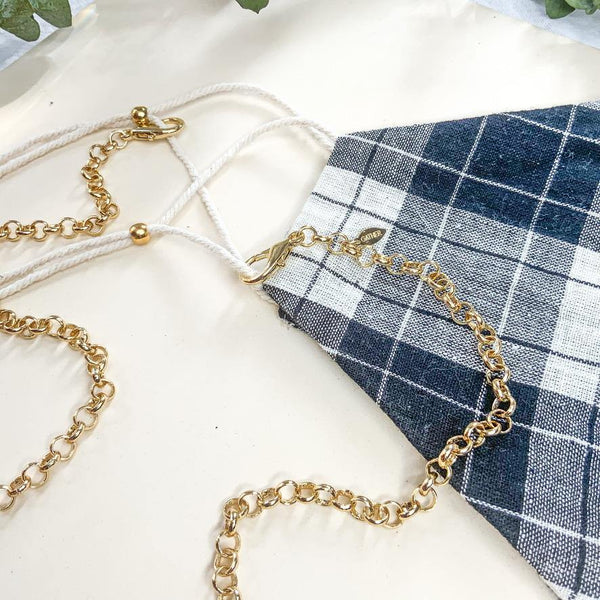 Face Mask & Chain Set - Black Plaid - Gather Brooklyn