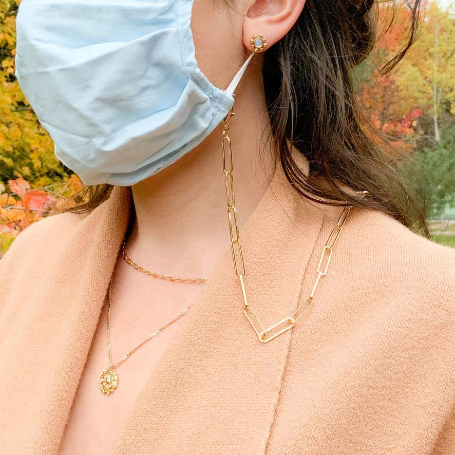 Face Mask Chain - Paper Clip Links - Gold - Gather Brooklyn