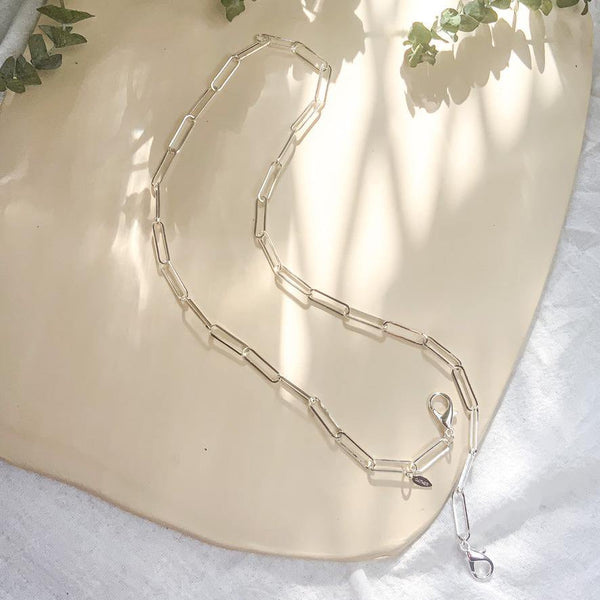 Face Mask Chain - Paper Clip Links - Silver - Gather Brooklyn