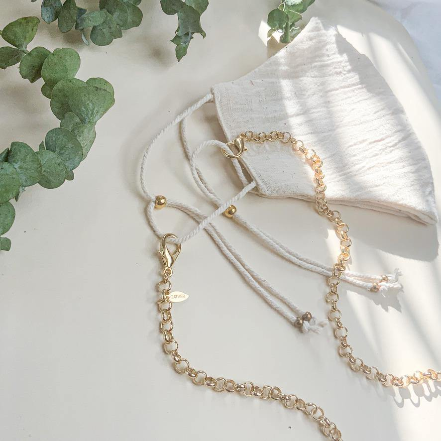 Face Mask & Chain Set - Ivory Linen - Gather Brooklyn