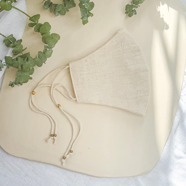 Organic Cotton Face Mask - Ivory Linen - Gather Brooklyn