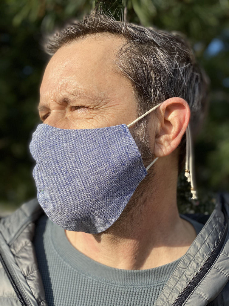 Organic Cotton Face Mask - Chambray - Gather Brooklyn