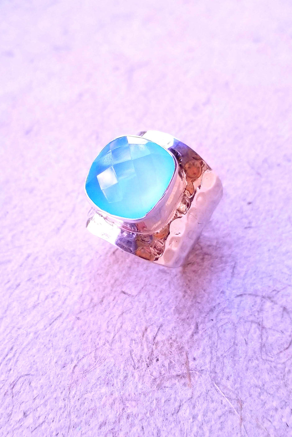 Aqua Chalcy Cocktail Ring
