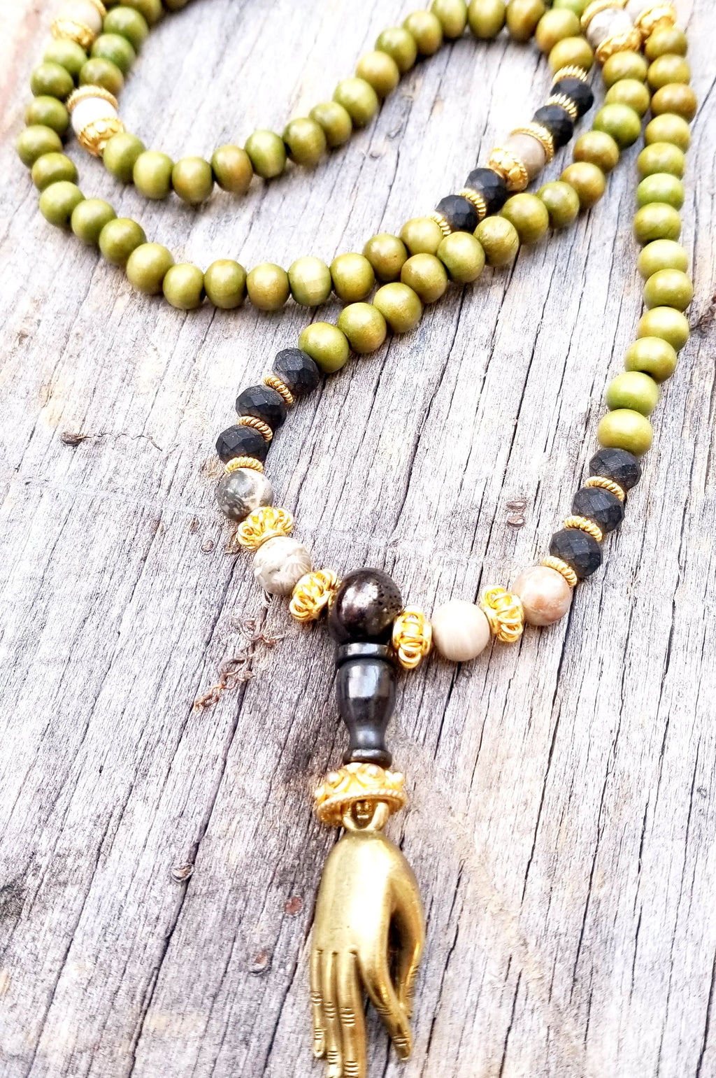 Japa Mala - Sandlewood, Jasper and Gold