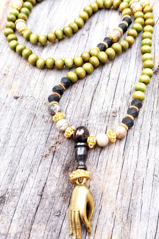 Japa Mala - Sandlewood, Yellow Tigers Eye and Sterling Silver