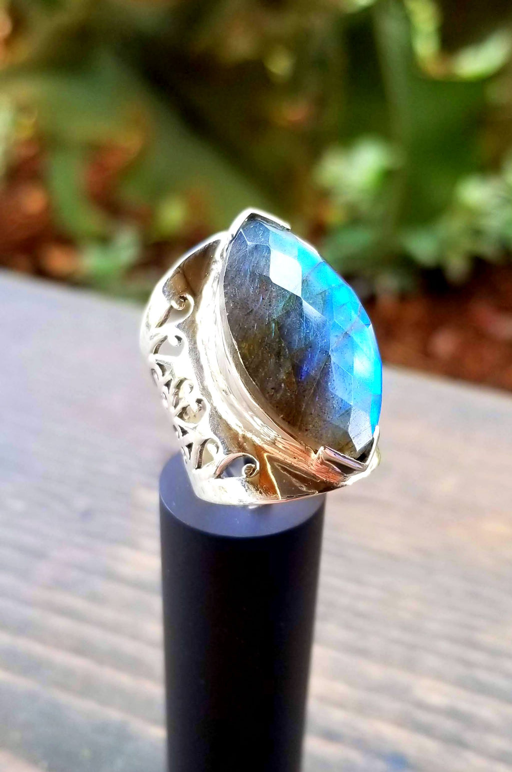 Faceted Fire Blue Labradorite Ring