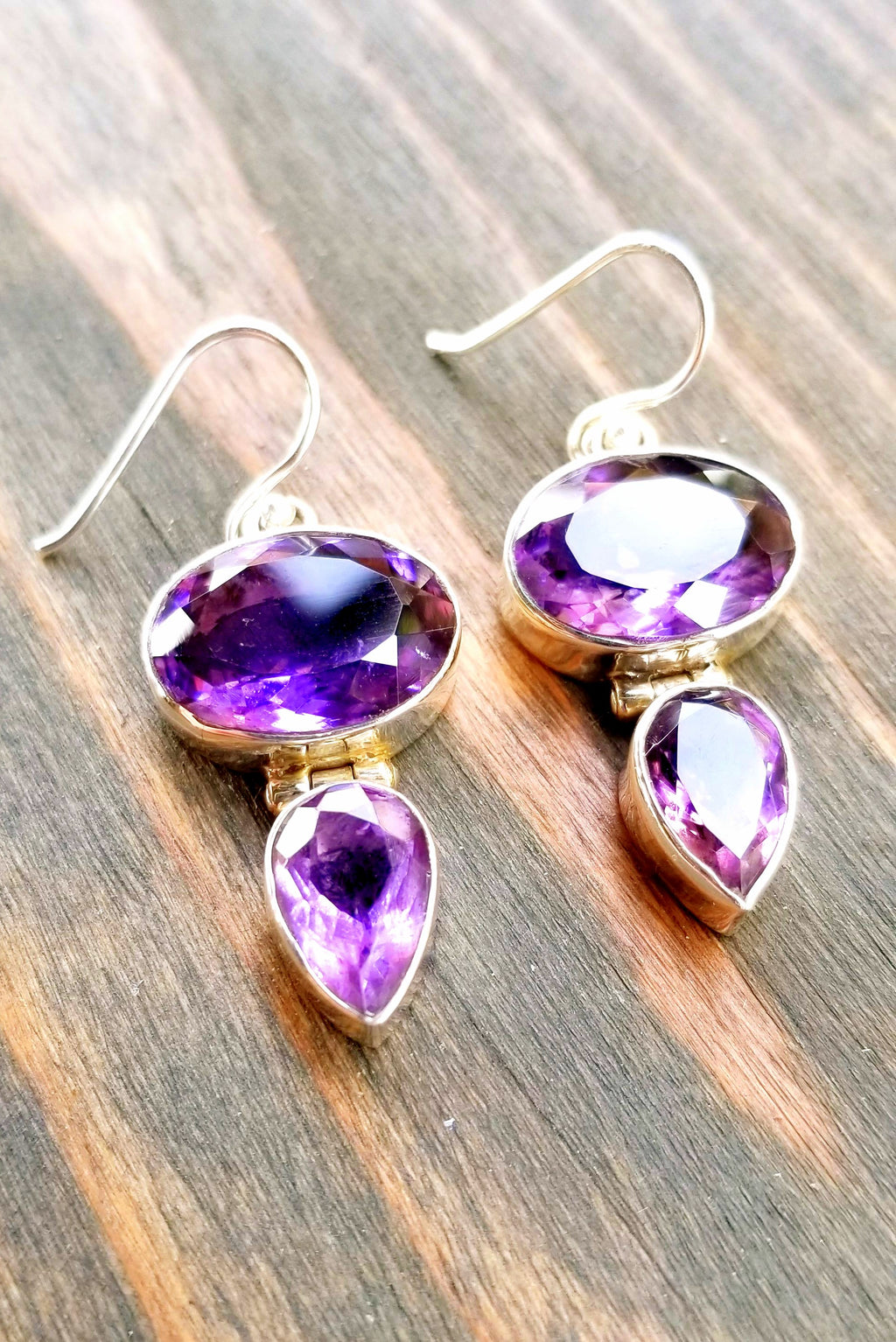 Oval Tear Drop Amethyst Earrings