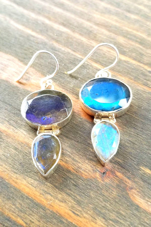 Oval Tear Drop Labradorite Earrings