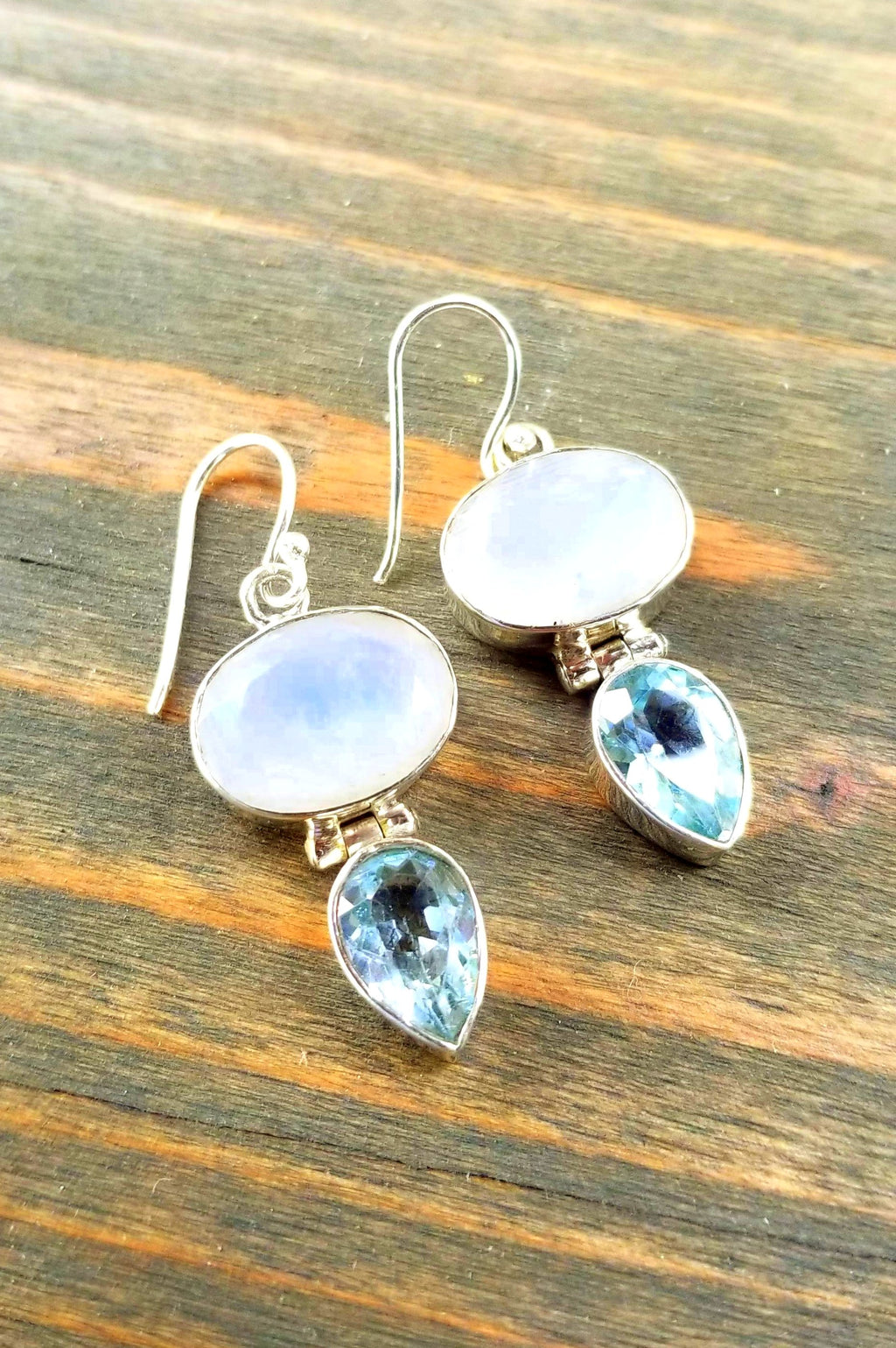Oval Tear Drop Moonstone & Blue Topaz Earrings