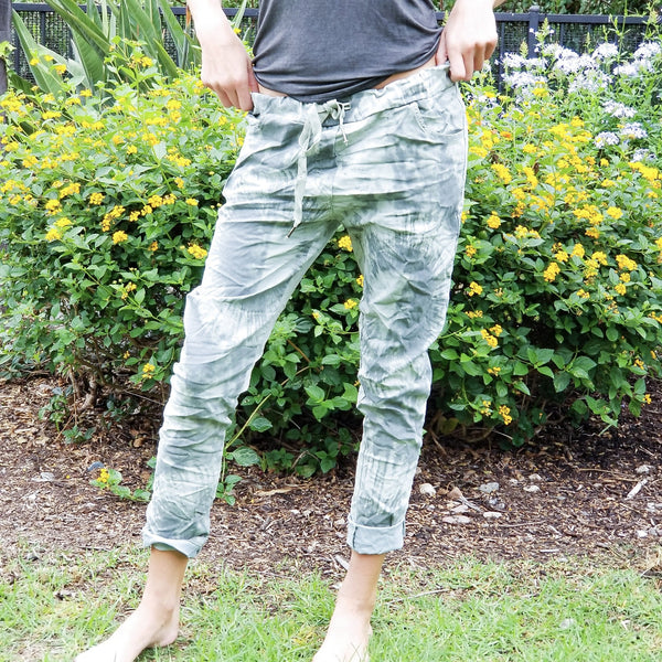 Amina Tie Dye Pants - Green - Revital Exotic Jewelry & Apparel