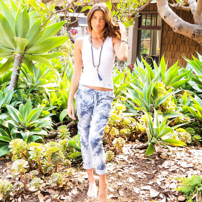 Amina Tie Dye Pants - Grey - Revital Exotic Jewelry & Apparel