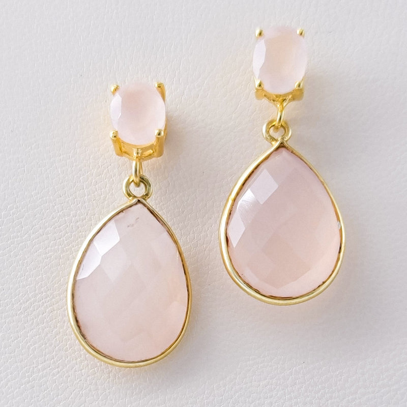 Asha Rose Quartz Earrings - Revital Exotic Jewelry & Apparel
