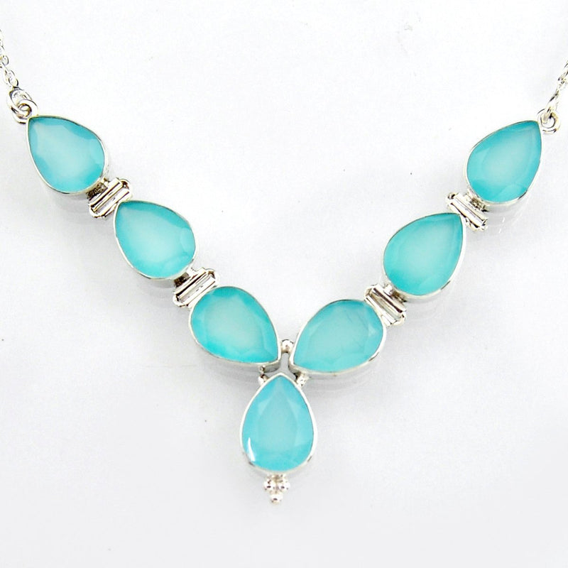Asherah Aqua Chalcy Necklace - Revital Exotic Jewelry & Apparel